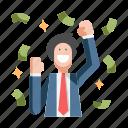 businessman, cash, income, money, profit, success, wealth
