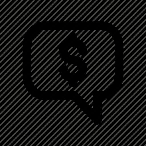 bubble, cash, chat, conversation, dollar icon