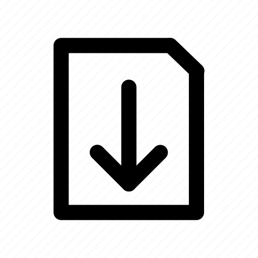 arrow, document, download, file, sheet icon
