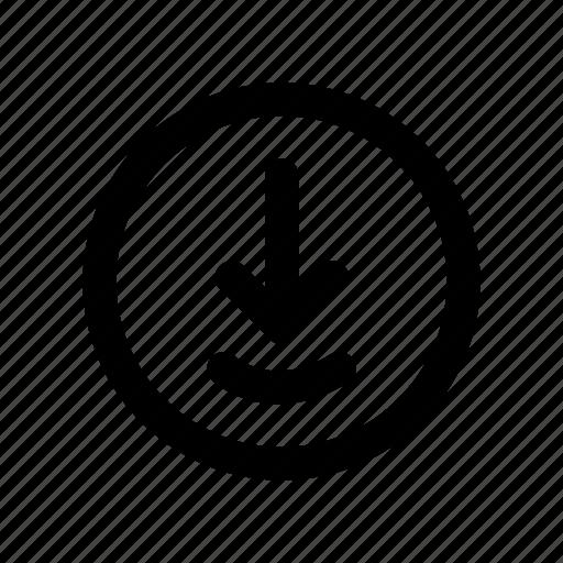 arrow, download, file, saving, sign icon