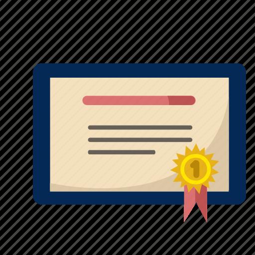 award, certificate, degree, diploma, win icon