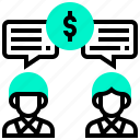conference, dollar, money, relationship, team icon