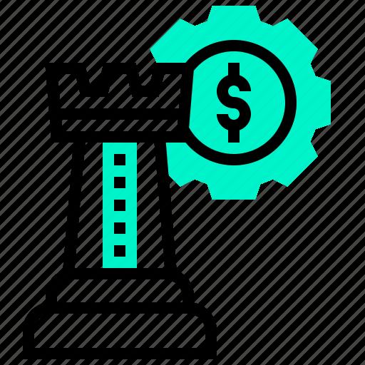 chess, dollar, money, strategy icon