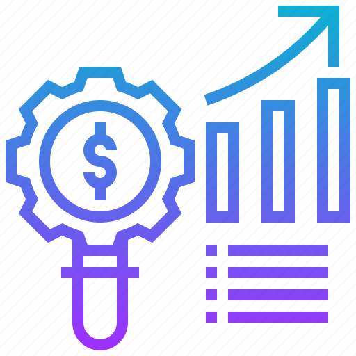 business, graph, growth, money, search icon