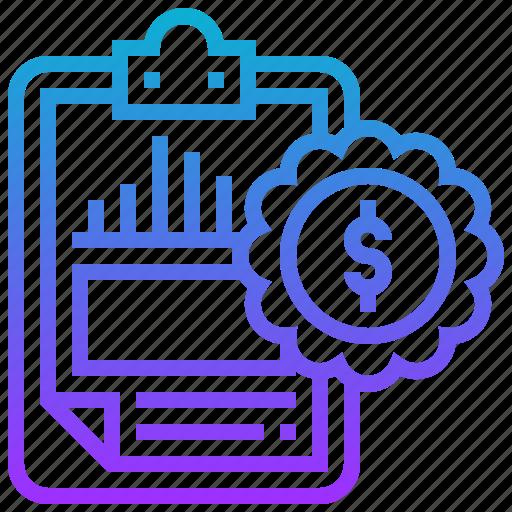 appraisal, financial, graph, money, report icon