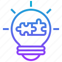 idea, jigsaw, lightbulb, resolve, solution icon