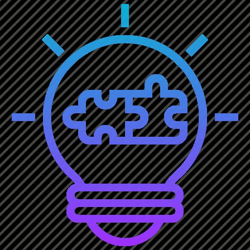 idea, jigsaw, lightbulb, resolve, solution icon