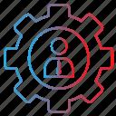 admin, gear, man, setting, user icon