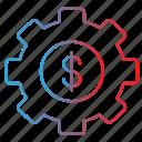 configuration, dollar, gear, options, settings icon