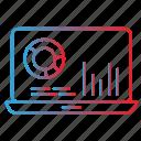 analytics, laptop, market, report icon