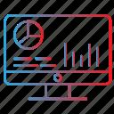 business progress, computer, monitoring, report, statistics icon