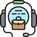 briefcase, business, call, center, color, headset, worker icon