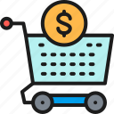 business, cart, color, deposit, investment, money, strategy icon
