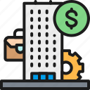 bank, business, center, color, financial, institution, strategy icon