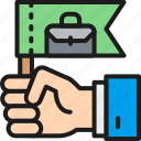 business, color, flag, hand, leader, leadership, owner icon
