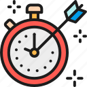 arrow, business, color, management, mark, stopwatch, strategy icon