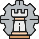 business, chess, color, gear, piece, strategy, wheel icon