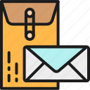 business, color, envelope, large, letter, post, small icon