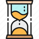 business, color, hourglass, management, portfolio, sand, time icon
