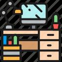 business, color, computer, desk, lamp, portfolio, workplace icon