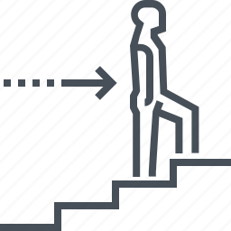 business, career, leadership, promotion, rise, stairs, success icon