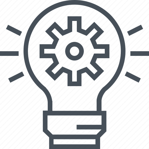 cog, cogwheel, creative, idea, innovative, lamp icon