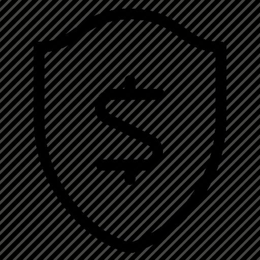 business, dollar, money, shield icon