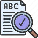 spell, checker, spelling, checking, loupe icon