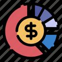 budget, chart, analytics, dollar, pie chart