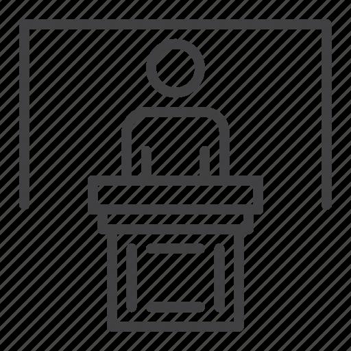 board, person, podium, speaker icon