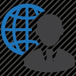 business, businessman, global, globe, international, man, worldwide icon