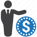 businessman, cash, coin, currency, finance, loan, money icon
