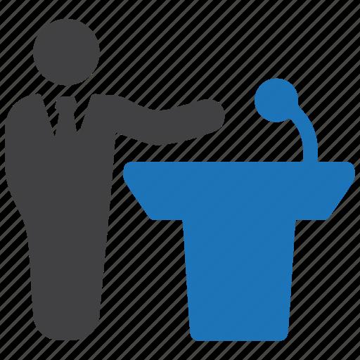 businessman, conference, lecture, man, podium, speech, teacher icon