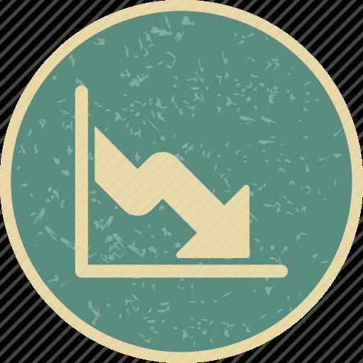 business fall, down fall, loss icon