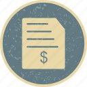 bill, invoice, money, order icon