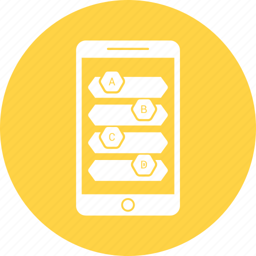 bar, infographic, mobile, phone icon