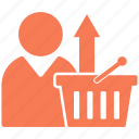 arrow, basket, shopping, up, upload icon