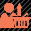basket, shopping, up, arrow, upload icon