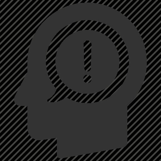 alert, danger, error, head, idea, person, warning icon