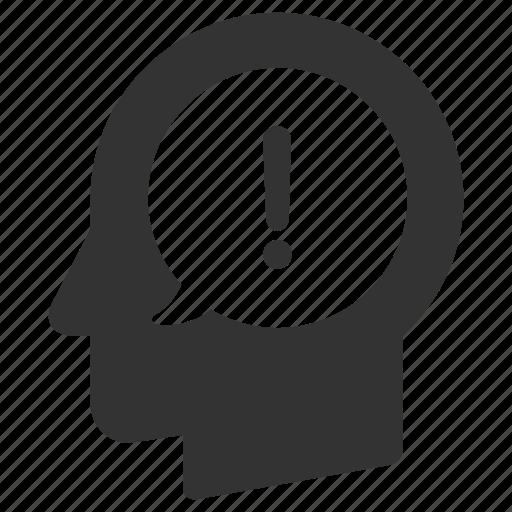 alert, danger, head, help, idea, man, warning icon
