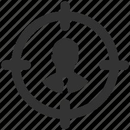 aim, businessman, center, goal, person, success, target icon