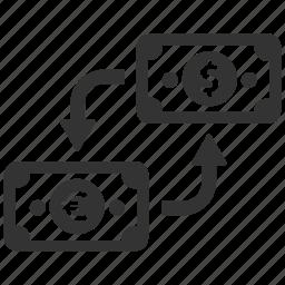 cash, change, currency, exchange, finance, money, swap icon