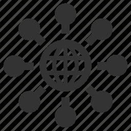 global, globe, international, links, nodes, web, website icon