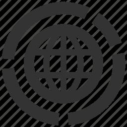 analysis, global, globe, graph, statistic, web, website icon