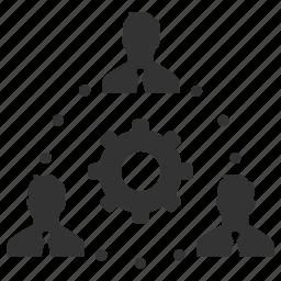businessmen, cog, configure, management, process, support, teamwork icon