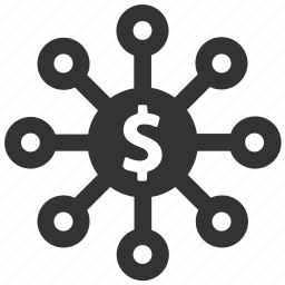 connection, dollar, finance, invest, investment, money, nodes icon