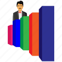 account, avatar, bar, growth, infographic, male, user icon