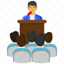conversation, lecture, message, podium, presentation, speech, talk icon