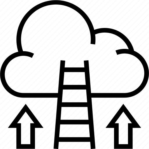 business, career, cloud, finance, growth, ladder, rise icon icon