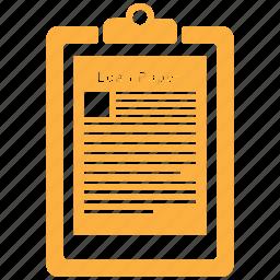 clipboard, document, file, loan, paper, sheet icon